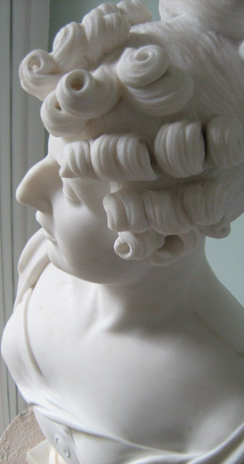 Marble Portrait Bust of a Lady with Riglets