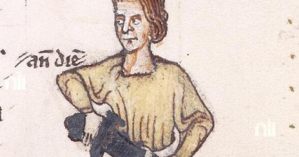 Mavricivs FitzGerald from the National Library of Ireland's copy of Giraldus Cambrensis Expugnatio Hibernica., Ms 700 f.71r, Courtesy of the National Library of Ireland. Maurice was Philip de Barri's uncle