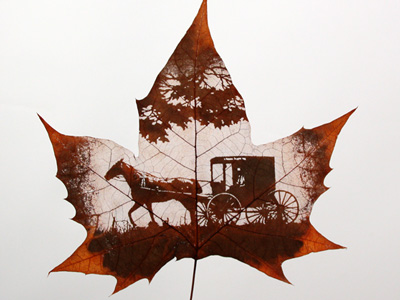 horse-and-carriage-leaf-art